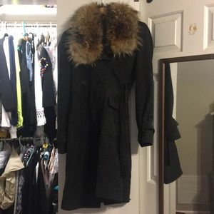 Andrew Marc Fur Trimmed Wool Trench Coat